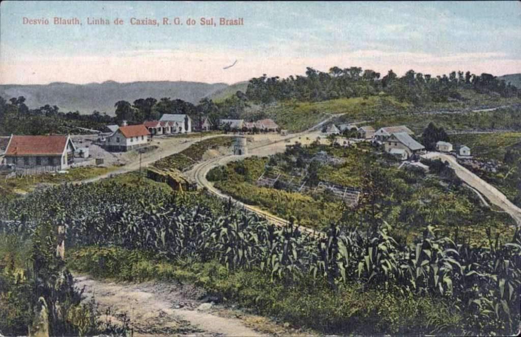Caxias do Sul - Postal da parada Desvio Blauth da linha ferroviária de Caxias-Porto Alegre.