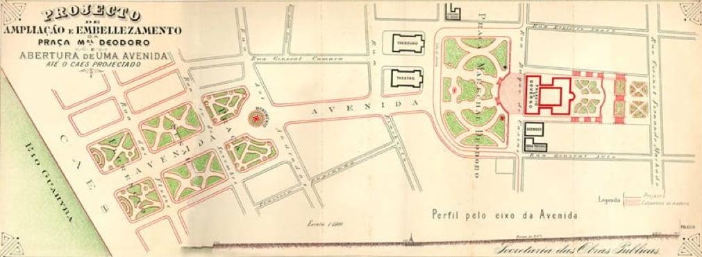 Porto Alegre - Projeto ampliação Praças da Alfândega e Matriz em 1909.