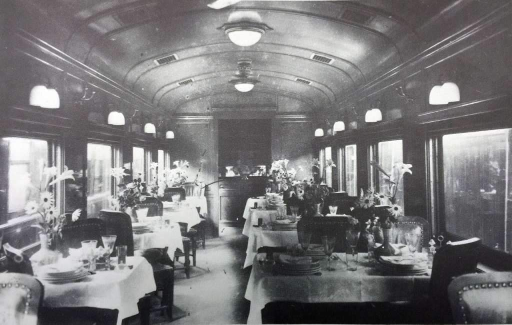 Interior Carro-restaurante primeira classe VFRGS 1926