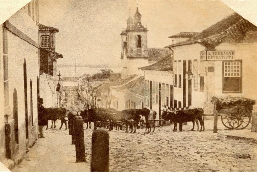 Porto Alegre Esquina das Ruas Vigário José Inácio com a General Vitorino em  1860.