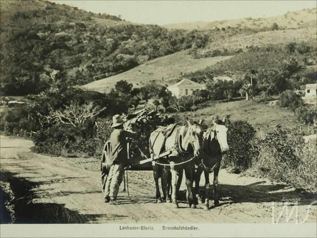 Porto Alegre - Lenhador em estrada de terra em 1900.