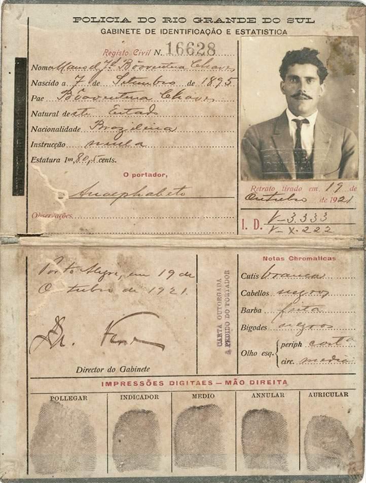 Carteira de identificação da Polícia do Rio Grande do Sul de 1921.