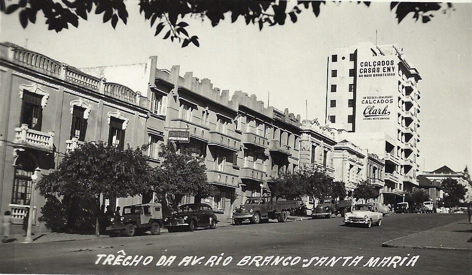 Santa Maria - Avenida Rio Branco na década de 1950.