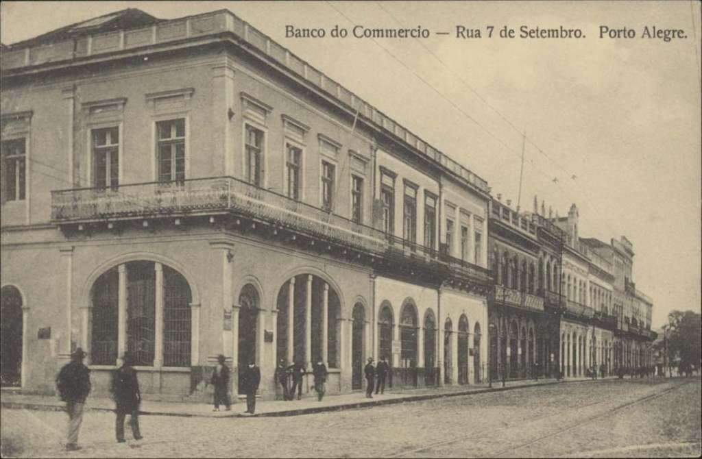 Porto Alegre - Banco do Comércio na Rua 7 de Setembro no início do século XX.
