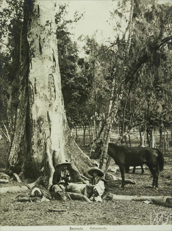 Porto Alegre - Homem e criança descansando no campo em 1900.