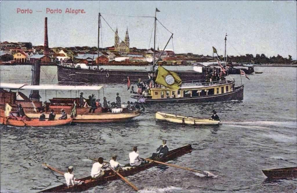 Porto Alegre - Porto e barcos no início do século XX.