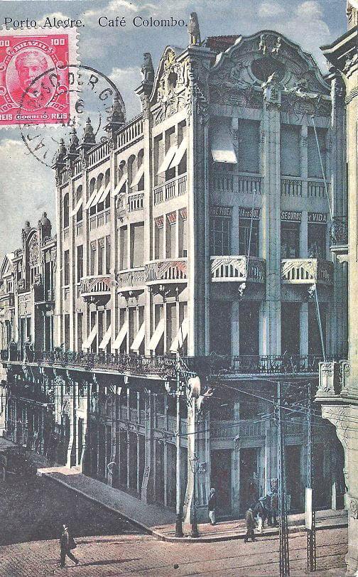 Porto Alegre - Postaldo  Café Colombo em 1906.