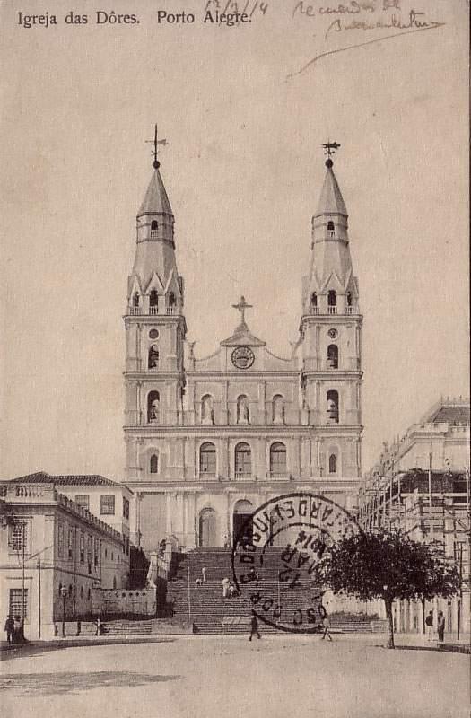 Porto Alegre - Postal Igreja das Dores na década de 1910.