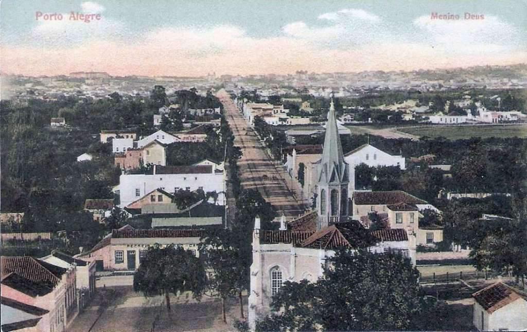 Porto Alegre - Avenida 13 de Maio(atual Getúlio Vargas) e vista da Igreja do Menino Deus no início do século XX.