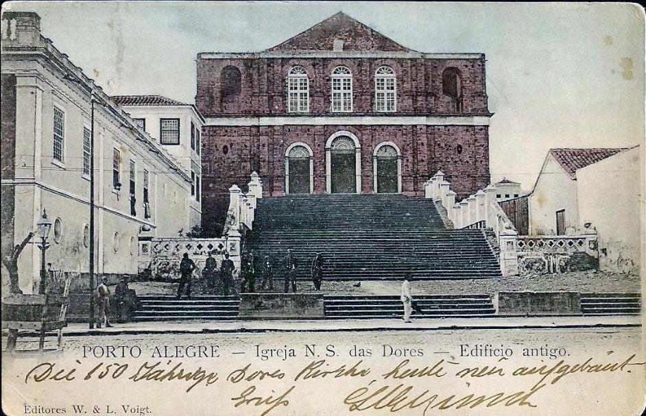 Porto Alegre - Postal da Igreja Nossa Senhora das Dores no final do século XIX.