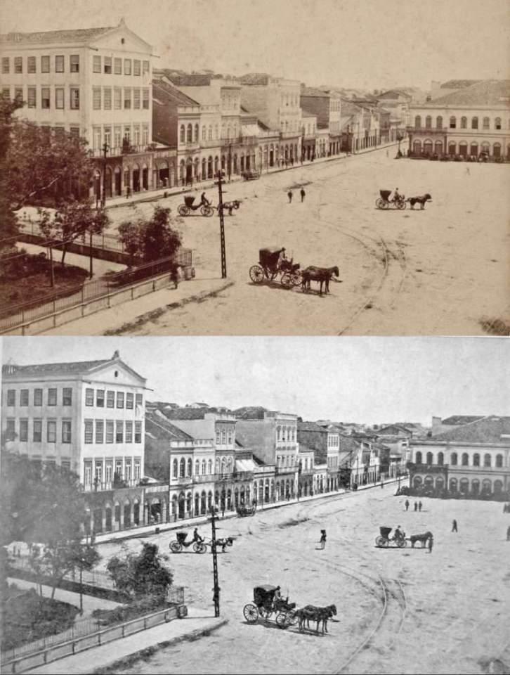 Porto Alegre - Praça Conde D'eu (atual XV de Novembro) na década de 1880.