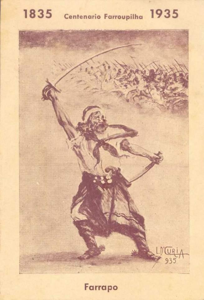 Postal do Farrapo no Centenário Farroupilha em 1935.
