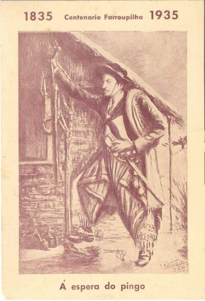 """Postal """"A espera do pingo"""" do Centenário Farroupilha em 1935."""