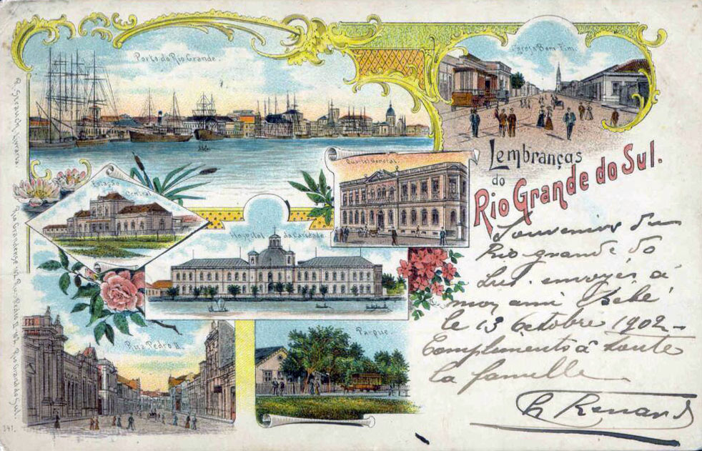Postal Lembranças Rio Grande do Sul em 1902.