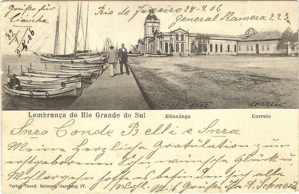 Rio Grande - Postal do porto em 1906.