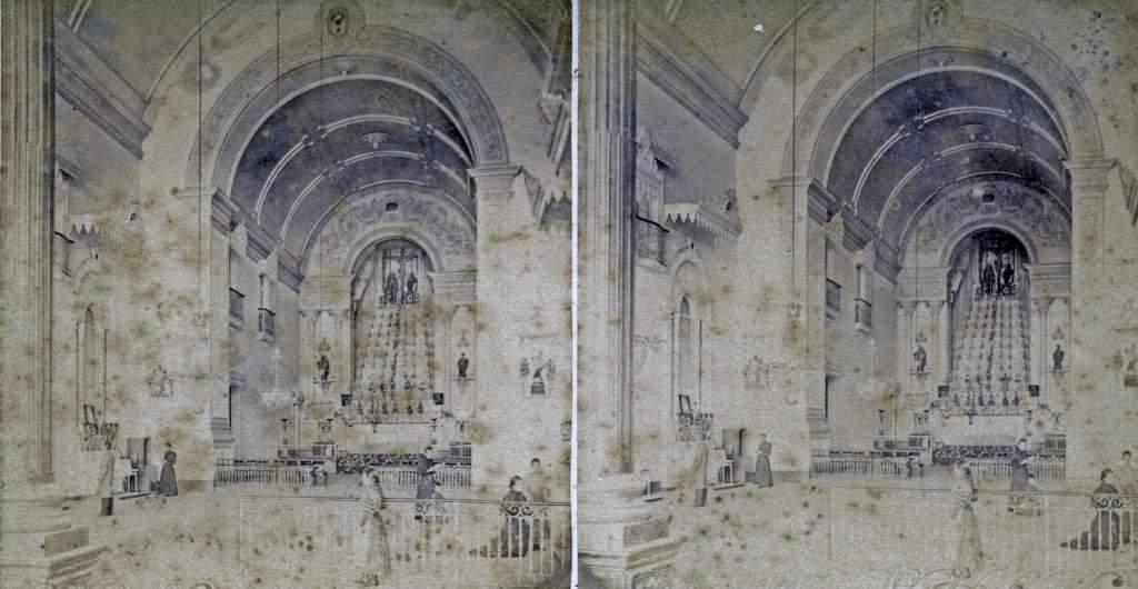 Porto Alegre - Interior da Igreja das Dores no final do século XIX.