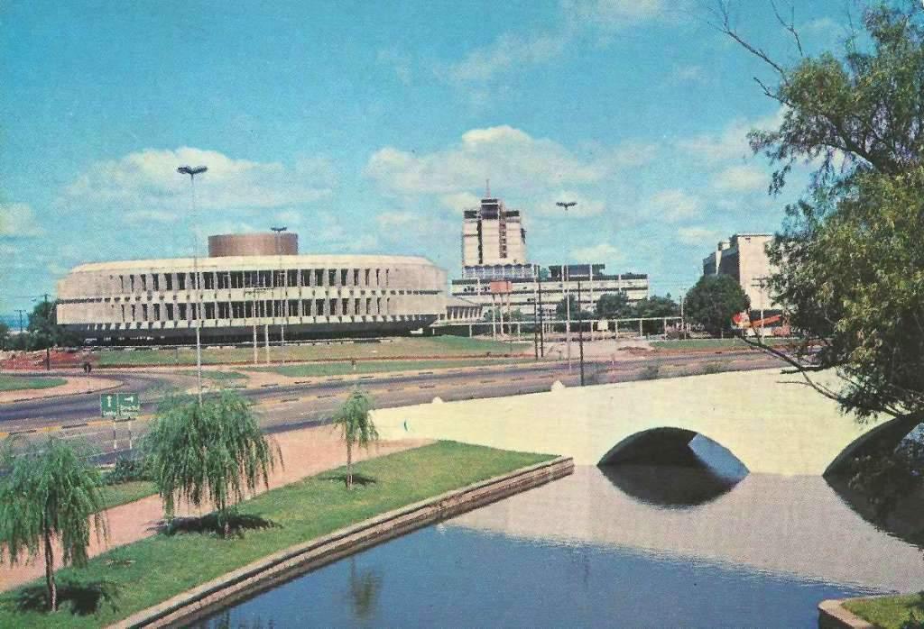 Porto Alegre - Postal da Procergs e Ponte de Pedra na década de 1970.