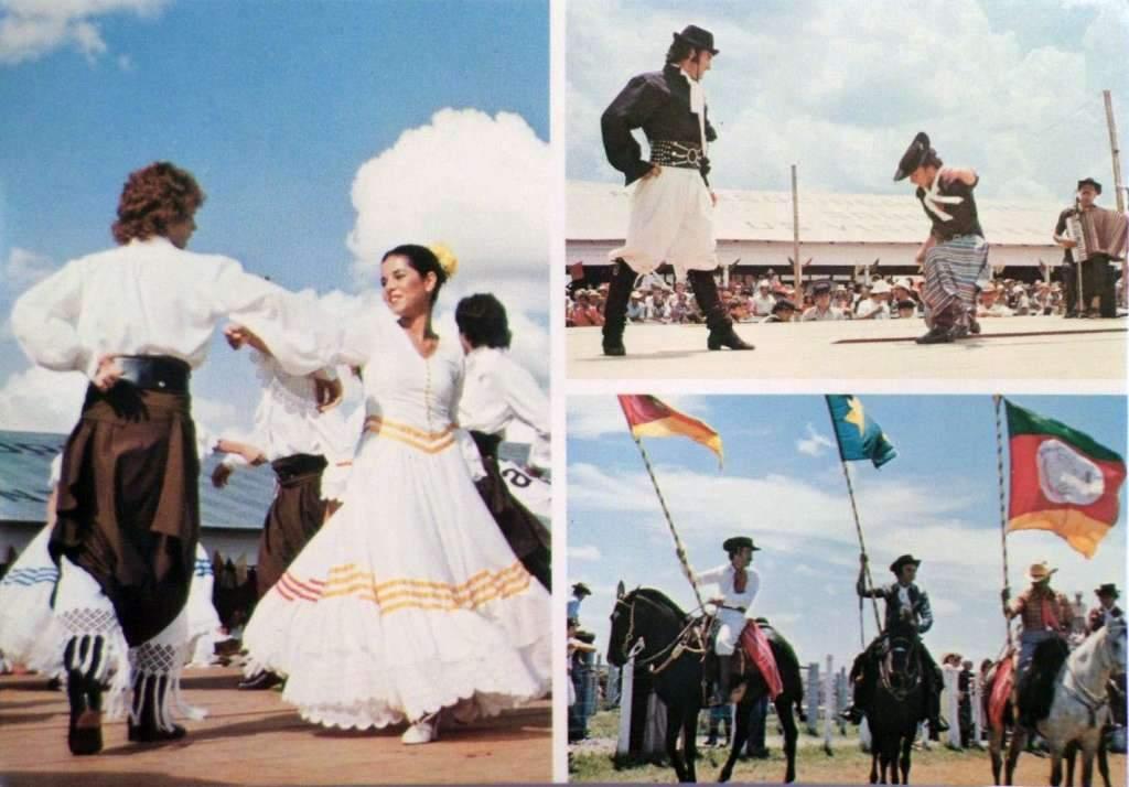 Postal Gaúchos, dança Folclórica e Cavalos na década de 1970.
