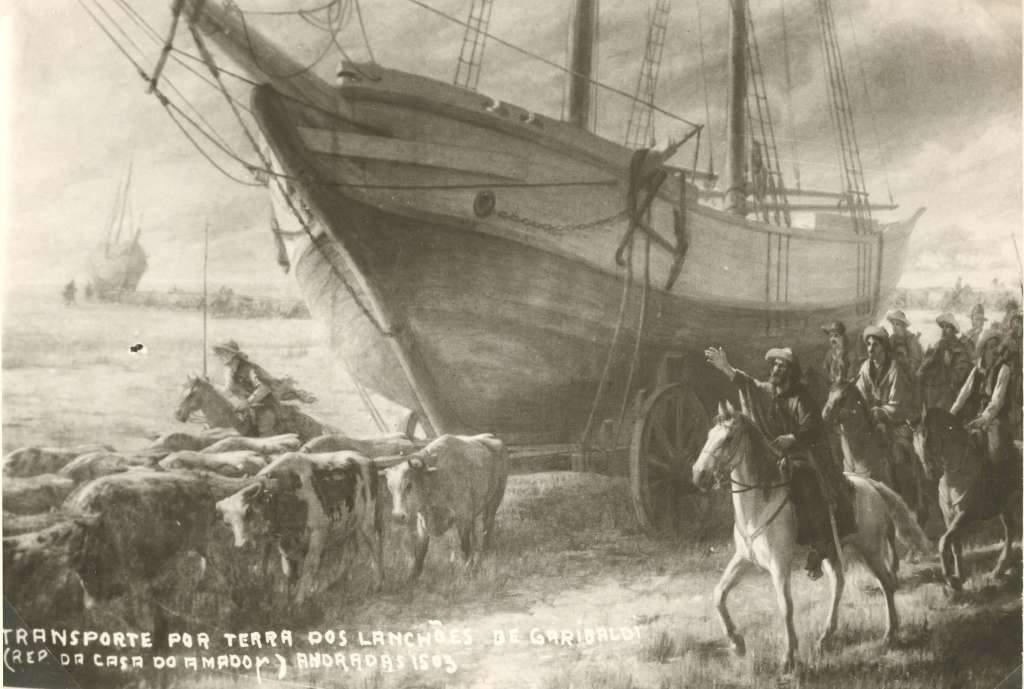 Transporte por terra dos lanchões de Garibaldi.