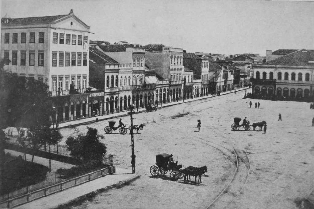 Porto Alegre - Praça Conde D'eu (atual Praça XV) e Rua 7 de setembro antes da república na década de 1880.