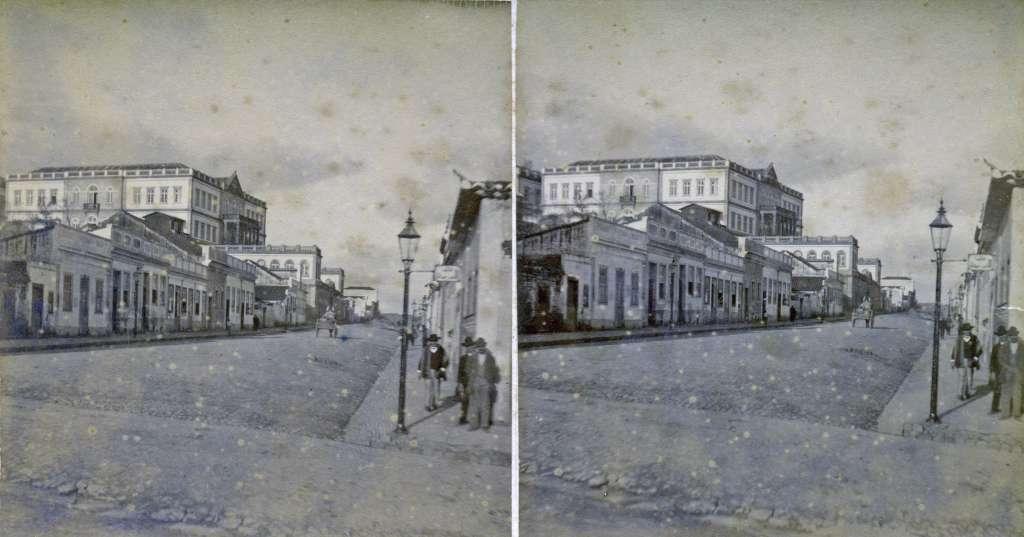 Porto Alegre - Rua do Arvoredo (atual Fernando Machado) no início do século XX.