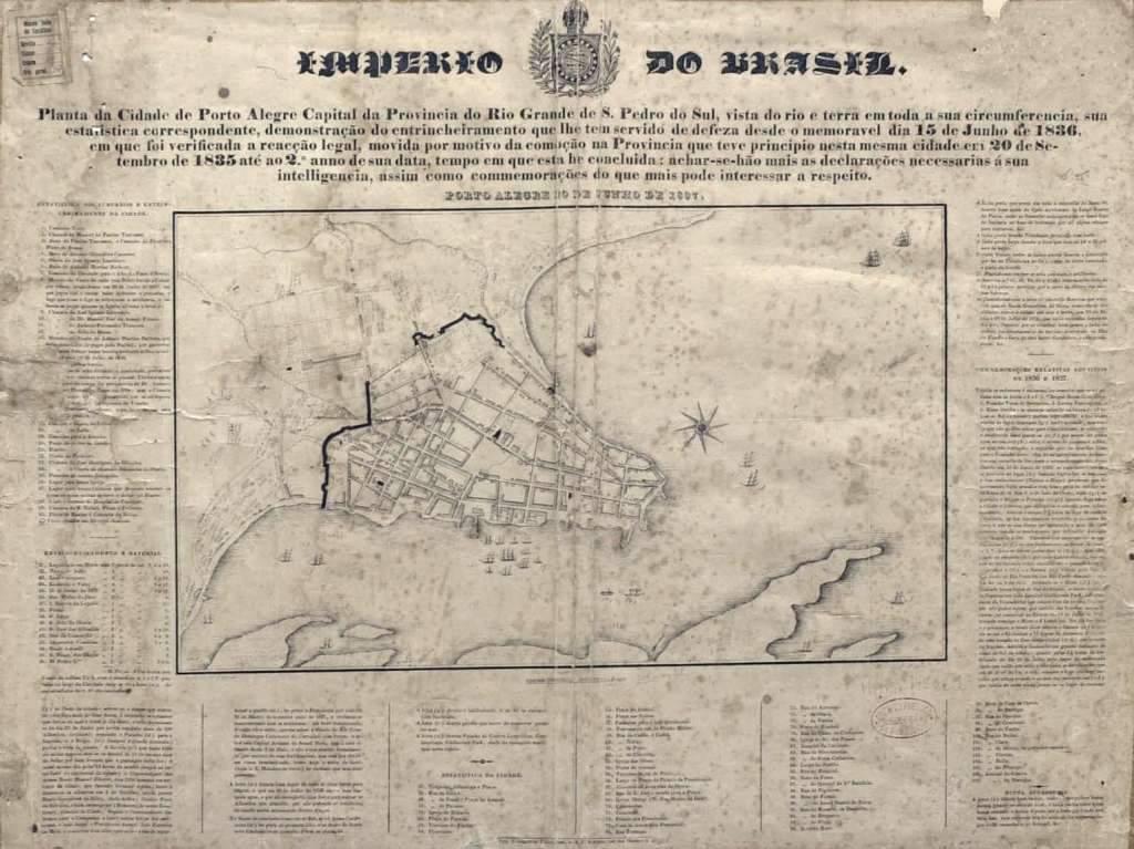 Porto Alegre - Mapa durante Império e Revolução Farroupilha na década de 1830.