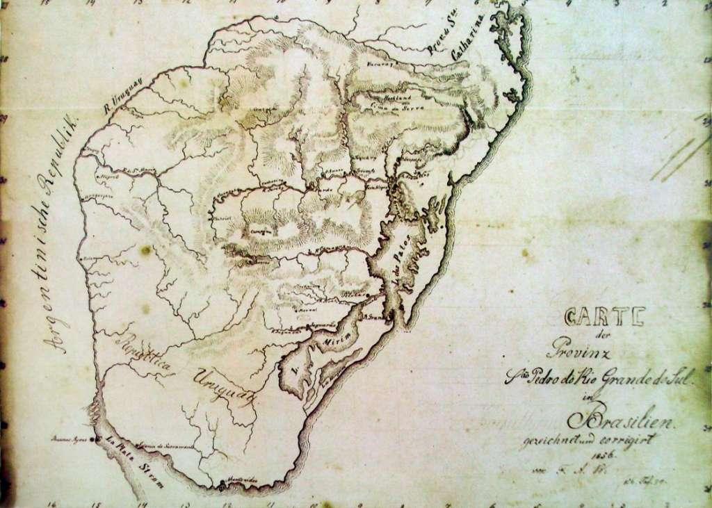 Mapa do São Pedro do Rio Grande do Sul em 1856. Fonte: Rudolf Herrmann Wendroth.