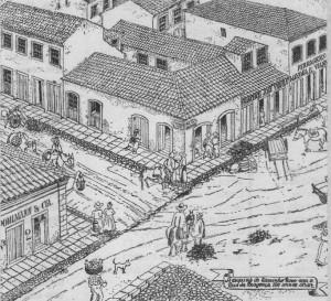 Desenho Porto Alegre Esquina do Caminho novo com Rua da Bragança Capital 1855