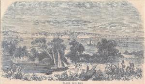 Gravura Delta do Jacuí e sua localização Ilha da Pintada 1881