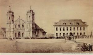 Gravura Porto Alegre Igreja da Matriz e Palácio do Governo 1852