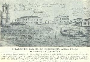 Gravura Porto Alegre Igreja da Matriz e Palácio do Governo Porto 1852