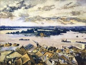 Quadro O Estuário e as ilhas do Guaíba(Aquarela Martha de Wagner Schidrowitz) 1939