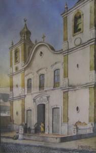 Quadro Porto Alegre Igreja Senhora do Rosário templo barroco luso-brasileiro(Giuseppe Gaudenzi) séc XIX
