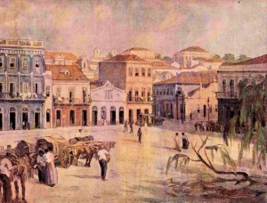Quadro Porto Alegre Praça Montevidéo sécXIX