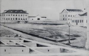 Quadro Porto Alegre Praça da Matriz Alicerces Casa da Câmara hoje Tribunal(quadro óleo Ataide Ávila) 1864