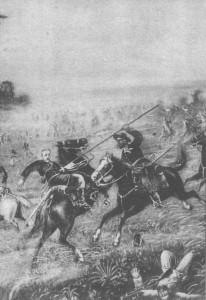 Quadro Revolução Federalista morte do Almirante Saldanha da Gama Batalha Campo Osório 1895