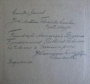 Bagé Fundação Associação Funcionários Públicos Federais 17-11-1934 verso