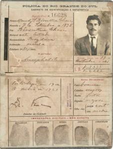 Carteira de identificação Polícia do Rio Grande do Sul 1921 ok