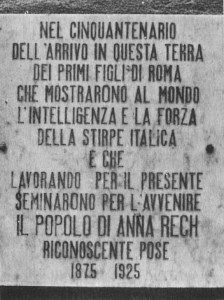 Caxias do Sul Ana Rech Placa comemorativa 50 anos Imigração Italiana