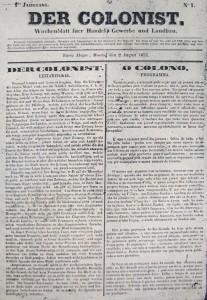 Porto Alegre Jornal Der Colonist 02-08-1852