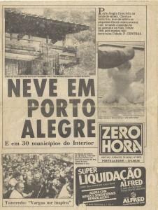 Porto Alegre Neve ZeroHora 25-08-1984