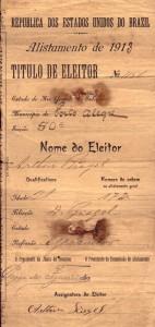 Porto Alegre Título Eleitor 1913