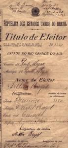 Título de eleitor 1916