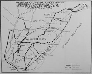 Mapa Comunicações Férreas Aéreas e Marítima déc1920