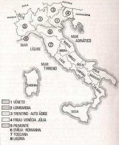 Mapa Italia Regiões imigração Caxias do Sul e Ana Rech