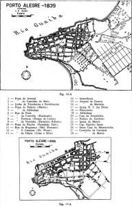 Mapa Porto Alegre 1839 e 1865