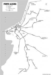 Mapa Porto Alegre Linhas Bondes Aeromóvel Trensurb