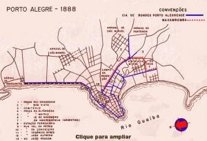 Mapa Porto Alegre Linhas de Bonde(acervo Ronaldo Fotografia) 1888