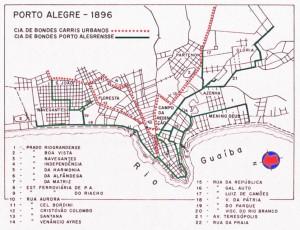 Mapa Porto Alegre Linhas de Bonde(acervo Ronaldo Fotografia) 1896
