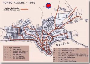 Mapa Porto Alegre Linhas de Bonde(acervo Ronaldo Fotografia) 1916
